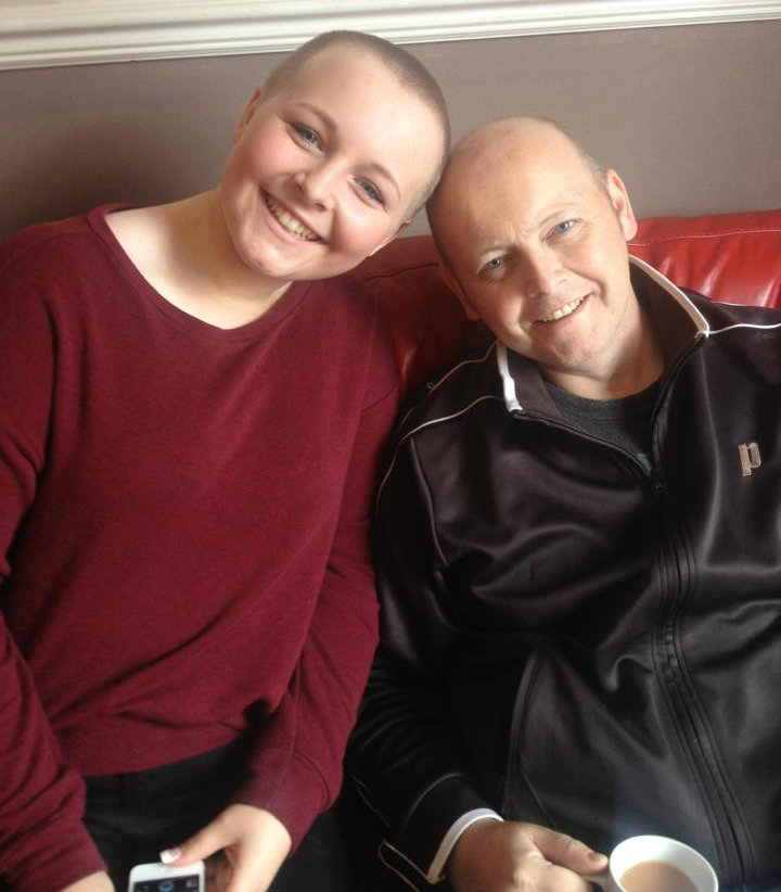 daughter an I after she shaved her head for Charlie Bear charity at the Northern Centre for Cancer Care